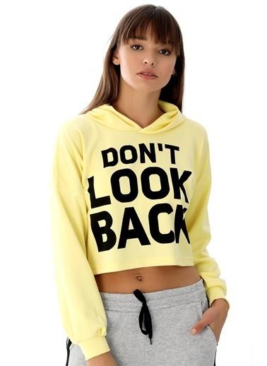 Emjey Don'T Look Back Baskılı Sweat Sarı